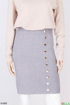 Женская серая трикотажная юбка