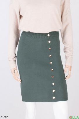 Женская трикотажная юбка цвета хаки