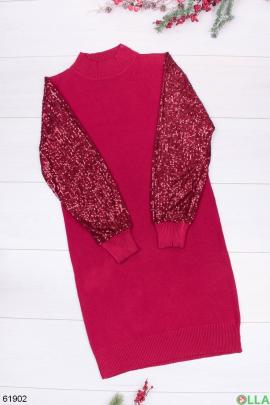 Женское красное платье с пайетками