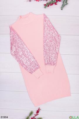 Женское розовое платье с пайетками