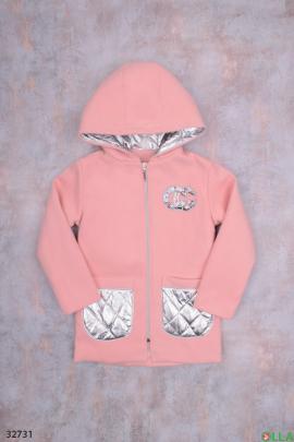 Розовое пальто с накладными карманами