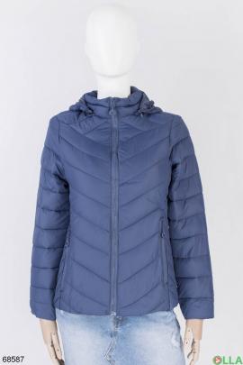 Женская темно-синяя куртка с капюшоном