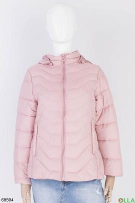 Женская розовая куртка с капюшоном