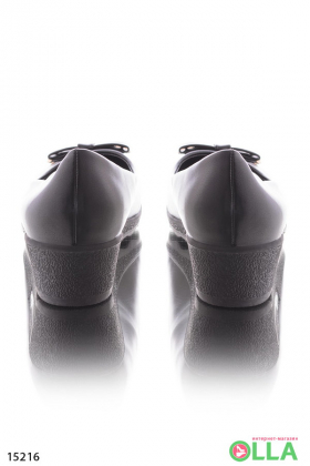 Туфли с бантиком, на танкетке