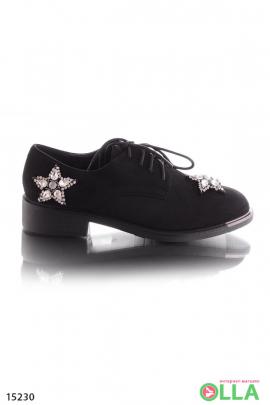 Туфли на шнуровке, со стразами