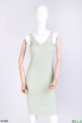 Женское бирюзовое трикотажное платье
