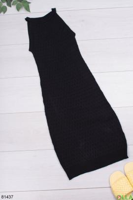 Женское черное трикотажное платье