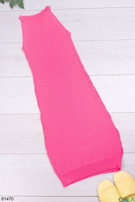 Женское розовое трикотажное платье