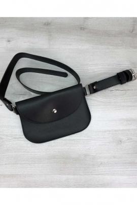 Женская чёрная сумка-бананка