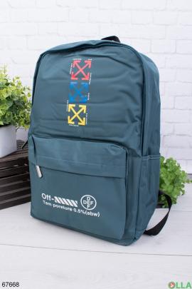 Бирюзовый рюкзак с надписью