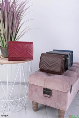 Женская бордовая сумка из экокожи