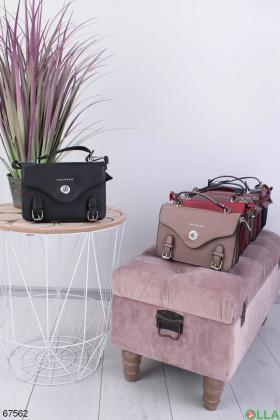 Женская черная сумка из экокожи