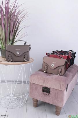 Женская серая сумка из экокожи