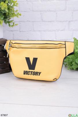 Женская сумка-бананка с надписью