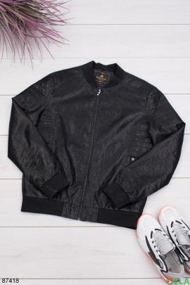 Мужская черная куртка из эко-кожи