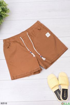 Женские коричневые джинсовые шорты