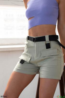 Женские бирюзовые шорты с поясом