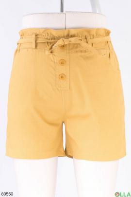 Женские темно-желтые джинсовые шорты