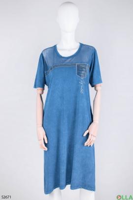 Женское синее платье