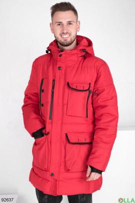 Мужская зимняя красная куртка