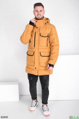 Мужская зимняя желтая куртка