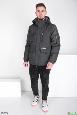 Мужская зимняя темно-серая куртка