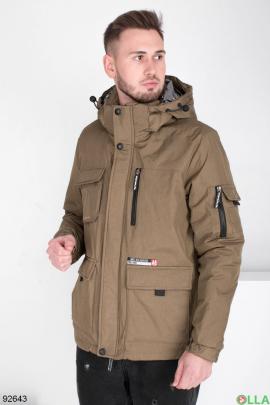 Мужская зимняя коричневая куртка