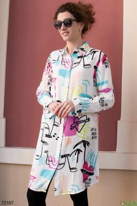 Женское белое платье в разноцветный принт