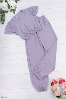 Женский лиловый костюм из топа и брюк