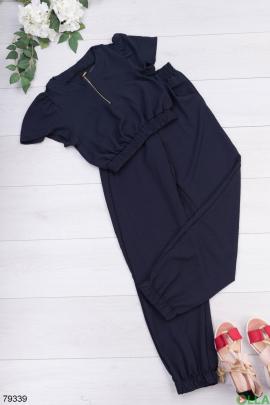 Женский темно-синий костюм из топа и брюк