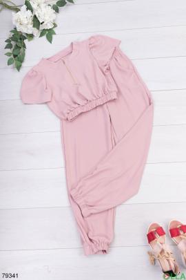 Женский розовый костюм из топа и брюк