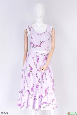 Женский лиловый в принт костюм из топа и юбки
