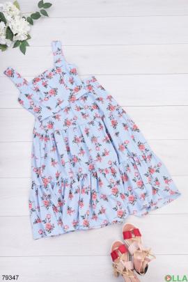 Женский голубой в принт костюм из топа и юбки