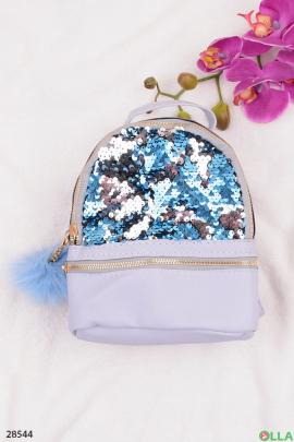 Голубой рюкзак с пайетками