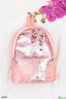 Розовый рюкзак с пайетками