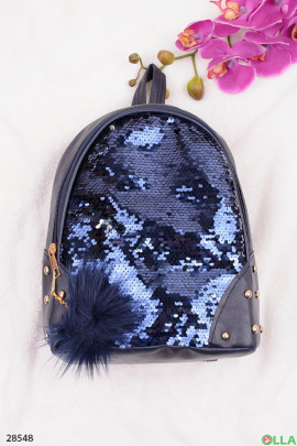 Синий рюкзак с пайетками