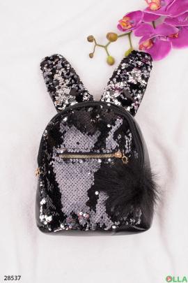 Рюкзак с ушками и меховым помпоном