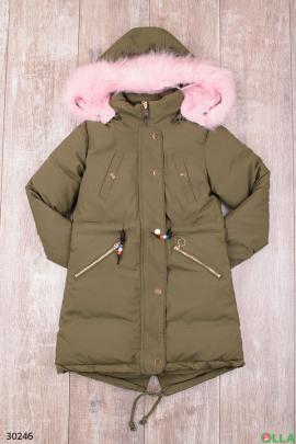 Куртка зелёного цвета для девочки