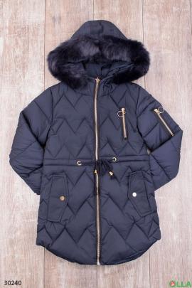 Куртка тёмно-синего цвета с капюшоном