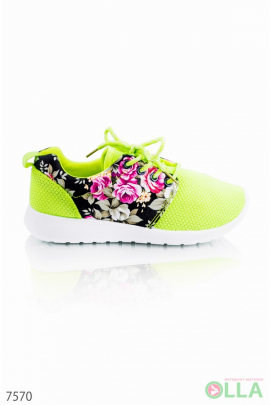Кроссовки салатовые с цветочным принтом