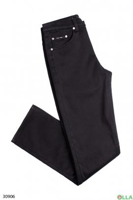 Мужские джинсы чёрного цвета на флисе
