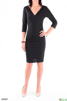 Черное платье с рукавом три четверти