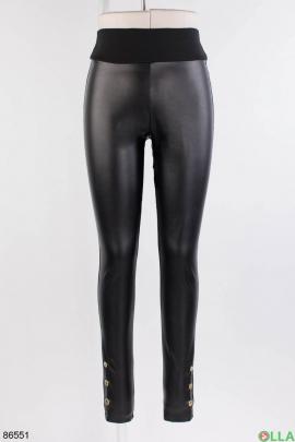 Женские черные лосины со вставками из эко-кожи