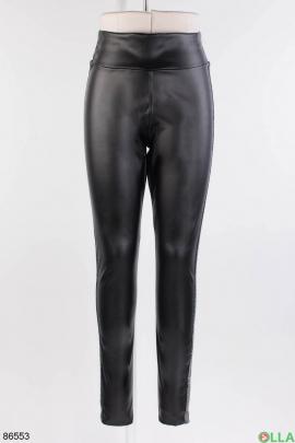 Женские черные лосины из эко-кожи