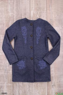 Пальто синего цвета для девочки