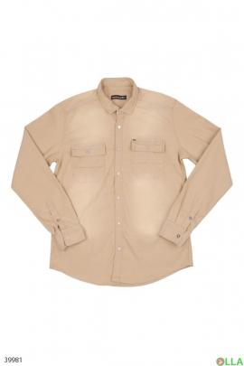 Мужская рубашка бежевого цвета