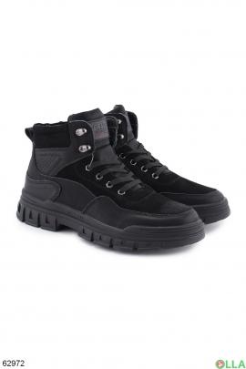 Мужские зимние черные ботинки