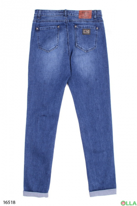 Молодежные джинсы с манжетами