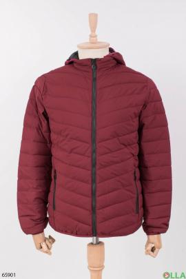 Мужская бордовая куртка с капюшоном