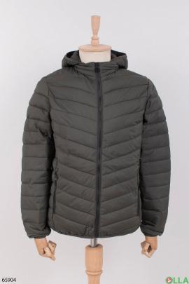 Мужская темно-серая куртка с капюшоном
